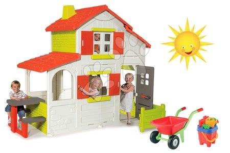Set detský domček Maison Duplex Smoby poschodový a fúrik s doplnkami