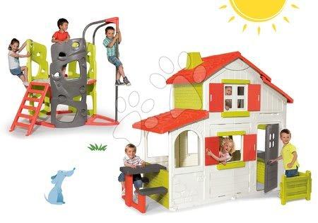 Set detský domček Maison Duplex Smoby poschodový+preliezačka Multi-Activity Tower so šmykľavkou a tyčou SM320023-5