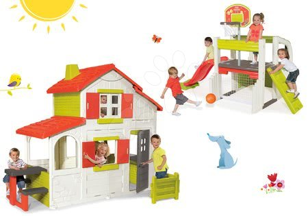 Set detský domček Maison Duplex Smoby poschodový+hracie centrum Fun Center so šmykľavkou SM320023-6