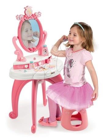 Măsuţă cosmetică Prinţese 2in1 Smoby cu scăunel şi 10 accesorii