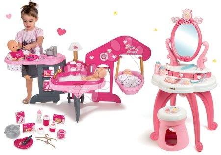 Set kosmetický stolek 2v1 Princezny Smoby a domeček pro panenku trojkřídlý