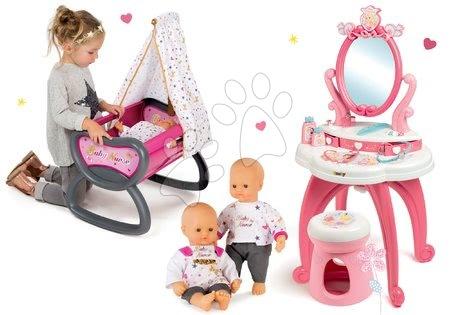 Komplet kozmetična mizica 2v1 Princeske Smoby in zibelka z baldahinom in dojenček