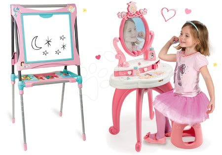 Komplet kozmetična mizica 2v1 Princeske Smoby in magnetna premična tabla