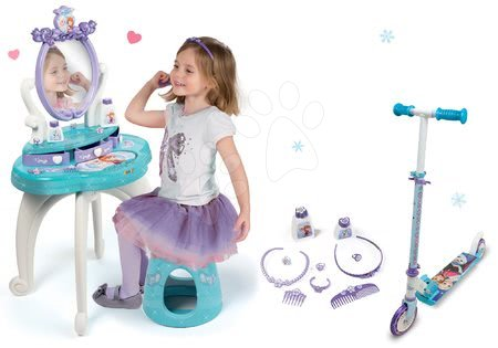 Set kozmetický stolík Frozen Smoby so stoličkou a dvojkolesová kolobežka Frozen