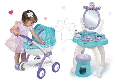 Set masă cosmetică cu scaun 2 în 1 Smoby Frozen cu cărucior pentru păpușă Frozen