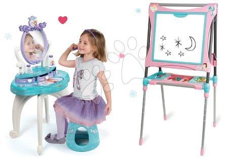 Set masă cosmetică cu scaun 2 în 1 Smoby Frozen cu tablă magnetică cu două fețe