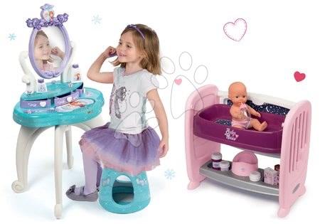 Set masă cosmetică cu scaun 2 în 1 Smoby Frozen cu geantă pentru cumpărături cu roți Frozen