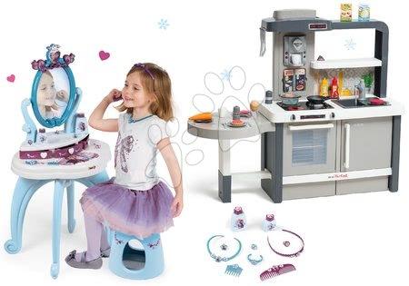 Set kozmetický stolík so stoličkou 2v1 Frozen a kuchynka rastúca Tefal Evolutive s tečúcou vodou a magickým bublaním