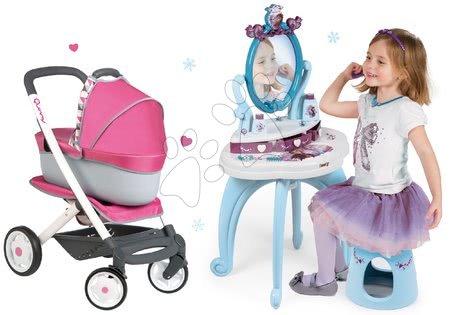 Masă cosmetică Frozen cu scaun Smoby și cu cărucior retro Maxi Cosi&Quinny 3în1