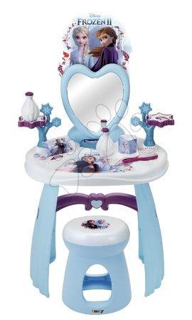 Detský kozmetický stolík - Kozmetický stolík so stoličkou Frozen Smoby so srdiečkovým zrkadlom a 10 doplnkami
