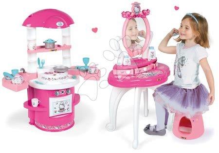 Kosmetické stolky sety - Set kosmetický stolek se židličkou Hello Kitty Smoby s kuchyňkou