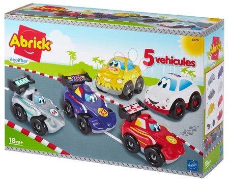 Építőjátékok - Építőjáték versenyautók Abrick Gyors verdák Écoiffier 5 fajta, 2 személygépkocsi 18 hó-tól