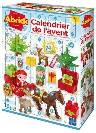 Építőjátékok - Adventi naptár 2020 Abrick Écoiffier Télapó szánon és erdei állatok, 24 részes 18 hó-tól