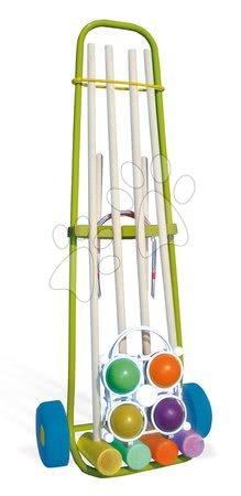 SMOBY 330102 Croquet drevený pre 4 hráčov s vozíkom, od 5 rokov, 28*18*78 cm