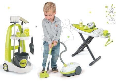 Set kolica za čišćenje s kantom Clean Smoby električni usisavač i daska za glačanje zelena
