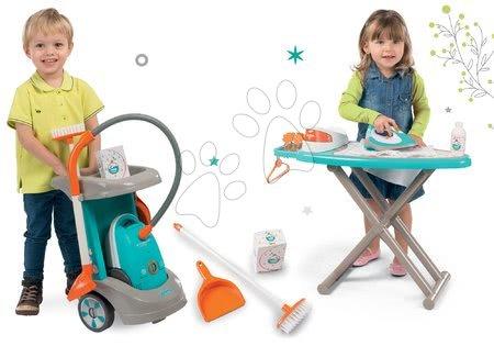 Hry na domácnost - Set úklidový vozík Clean Service a 9 doplňků a žehlicí prkno s elektronickou žehličkou Tefal