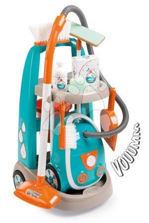 Čistilni voziček z elektronskim sesalnikom Vacuum Cleaner Smoby turkizen z 9 dodatki