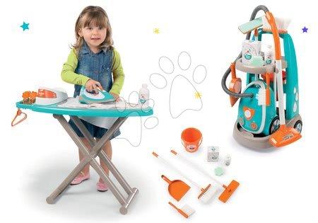 Hry na domácnost - Set úklidový vozík s elektronickým vysavačem Clean Smoby a žehlicí prkno se žehličkou