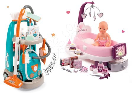 Hry na domácnost - Set úklidový vozík s elektronickým vysavačem Clean Smoby a pečovatelské centrum s panenkou