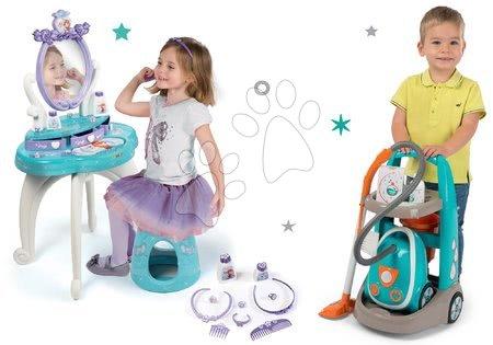 Set upratovací vozík s elektronickým vysávačom Vacuum Cleaner Smoby a kozmetický stolík Frozen so stoličkou
