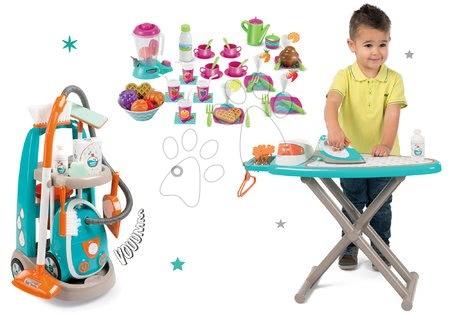 Hry na domácnost - Set úklidový vozík s elektronickým vysavačem Clean Smoby a žehlicí prkno s žehličkou