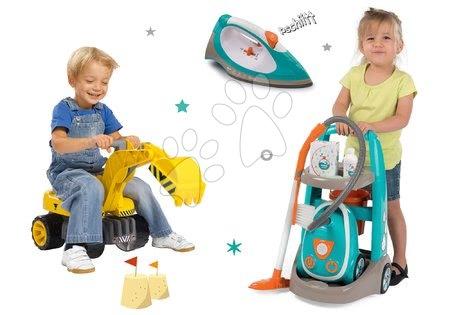 Hry na domácnost - Set úklidový vozík s elektronickým vysavačem Clean Smoby a elektronická žehlička