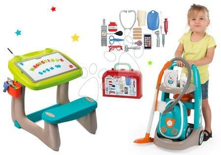 Set úklidový vozík s elektronickým vysavačem Vacuum Cleaner Smoby a lavice s oboustrannou tabulí a lékařským kufříkem