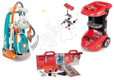 Hry na domácnost - Set úklidový vozík s elektronickým vysavačem Clean Smoby a vozík s nářadím Cars