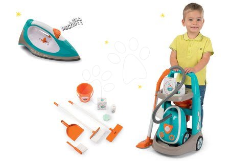 Hry na domácnosť - Set upratovací vozík s elektronickým vysávačom Clean Smoby a elektronická žehlička