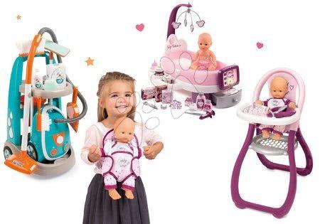 Set cărucior de curăţenie cu aspirator electronic Clean Smoby și centru de bebe cu păpuşă cu scaun de masă și marsupiu