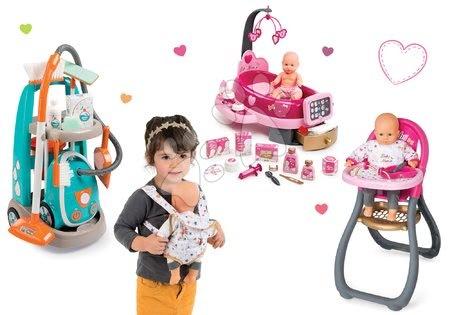 Szett takarítókocsi elektronikus porszívóval Clean Smoby és babacenter játékbabával