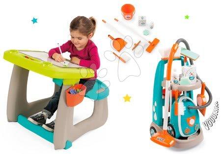 Hry na domácnost - Set úklidový vozík s elektronickým vysavačem Clean Smoby a lavice s tabulí Little Pupils