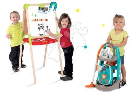Hry na domácnost - Set úklidový vozík s elektronickým vysavačem Clean Smoby a školní tabule oboustranná magnetická