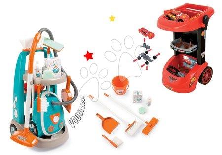 Hry na domácnost - Set úklidový vozík s elektronickým vysavačem Clean Smoby a vozík s nářadím Auta 3