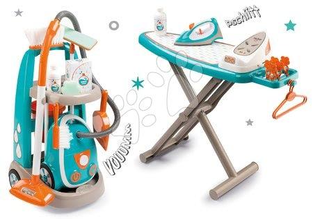 Hry na domácnost - Set úklidový vozík s elektronickým vysavačem Clean Smoby a se žehlicím prknem a žehličkou