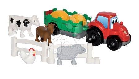 Építőjátékok - Építőjáték Traktor utánfutóval Écoiffier állatkákkal 18 hó-tól