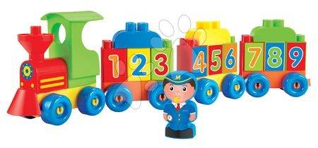 Építőjátékok - Építőjáték Vonat számokkal Abrick Écoiffier mozdonyvezetővel 45 cm hosszú 18 hónapos kortól