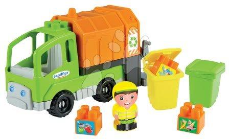 Építőjátékok - Építőjáték Szemetes autó Abrick Écoiffier kukással 24 cm hosszú 18 hónapos kortól