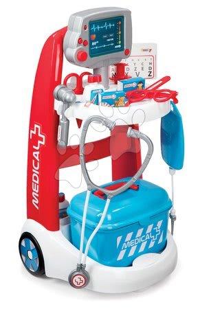 Lékařský vozík Medical Smoby elektronický s modrým kufříkem a 16 doplňky