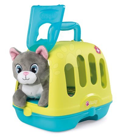 Medicinska kolica za djecu - Veterinarski kovčeg Veterinary Case Smoby s plišanom mačkom i 4 zvuka te 10 dodataka za životinje