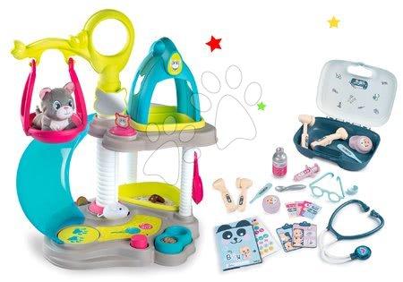 Játékbabák gyerekeknek - Szett macskaház cicával és hanggal Cat's House Veterinary Smoby és orvosi koffer 19 kiegészítővel