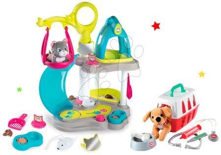 Játékbabák gyerekeknek - Szett macskaház cicával és hanggal Cat's House Veterinary Smoby és orvosi kosár kiegészítőkkel