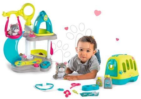 Játékbabák gyerekeknek - Szett macskaház cicával és hanggal Cat's House Veterinary Smoby és állatorvosi koffer cicával és 4 hanggal  - ideális 2 gyerkőc részére