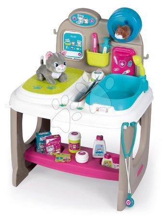 Medicinska kolica za djecu - Veterinarska ambulanta sa životinjama Veterinary Center Smoby s pultom i kadom za kupanje s 18 dodataka