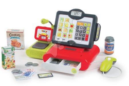 Supermarteturi pentru copii - Casă de marcat Marchande Smoby electronic cu efecte sonorice, cu căntar, cu cititor de coduri de bară și cu 25 de accesorii, roșu