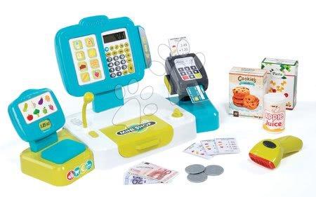 Supermarteturi pentru copii - Casă de marcat Mini Shop Smoby cu cântar electronic, terminal, cititor card coduri de bare şi 27 de accesorii turcoaz