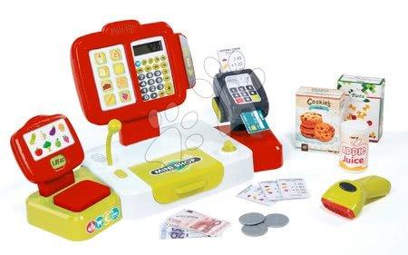 Supermarteturi pentru copii - Casă de marcat electronic cu butoane Mini Shop Smoby roşu cu cântar cu terminal cu cititor de cod de bară şi cu 27 de accesorii roșu