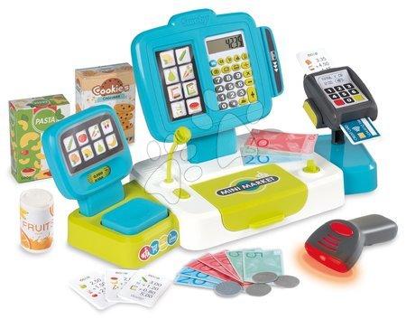 Supermarteturi pentru copii - Casă de marcat electronică cu calculator Large cash Register Smoby turcoaz cu cântar, terminal de plată și cititor de coduri de bare cu 30accesorii