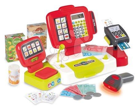 Supermarteturi pentru copii - Casă de marcat electronică cu calculator Large cash Register Smoby roșie cu cântar, terminal de plată și cititor de coduri cu 30 de accesorii