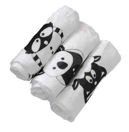 Odejica iz bambusa Bamboo Black&White toTs-smarTrike živalce 3 kosi 100% bambus svila